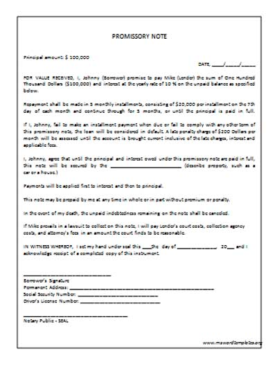 Promissory Note Template » Microsoft Word Templates