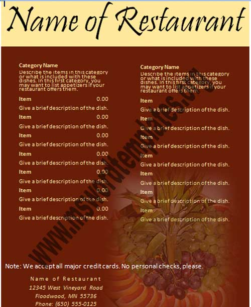 free restaurant menu templates for microsoft word Template – Word Restaurant Menu Template