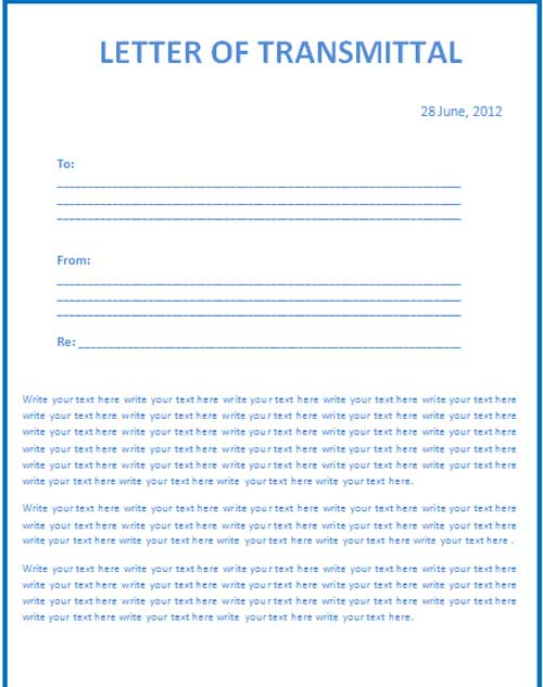 Letter Of Transmittal Template » Microsoft Word Templates