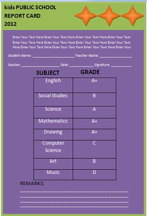 Report Card Template : Best Business Template