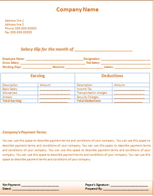Doc591674 Salary Template Download Free Wage Slip Template – Microsoft Payslip Template