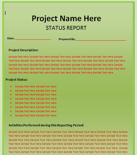 Microsoft Word Templates – Status Report Template Word